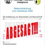 Achtung: Osterfeuer abgesagt!